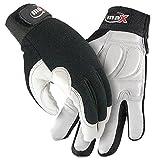 Galeton 9120141-XXL maX Defender Plus Goatskin Rubber Padded Palm Mechanic/Utility Work Gloves, 2X-Large, White/Black