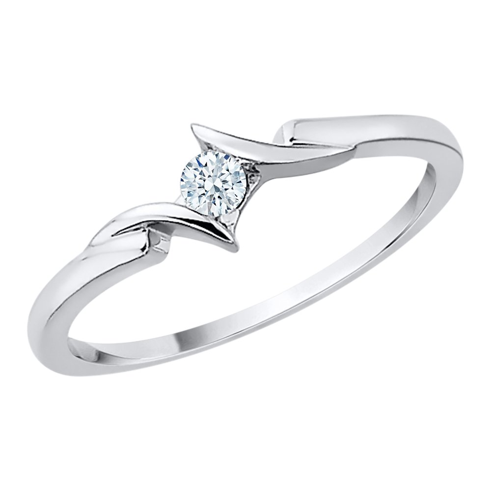 Diamond Promise Ring in Sterling Silver (1/10 cttw) (GH-Color, I2/I3-Clarity) (Size-10.25)