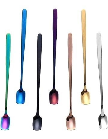 Multicolore Acciaio Inossidabile con Impugnatura da 16 cm GuDuQi Set Cucchiaini da t/è 4 Pezzi Cucchiaino da caff/è Cucchiaini da Dessert Cucchiai per Zuppa Cucchiaio da Zucchero