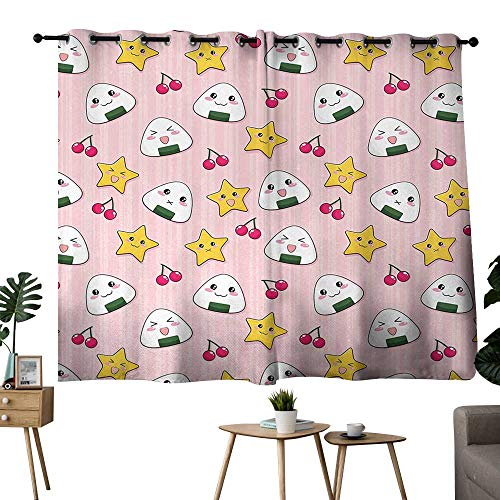 (Suchashome Anime Curtain for Bedroom Background Darkening Curtains Happy Crying Cute Cartoon Rice Balls Cherries Stars Pattern on Stripes Art Grommets Pink Yellow and White W55 x L39)