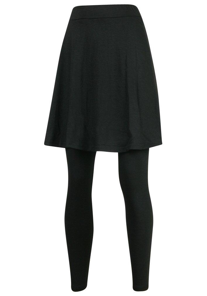 ililily Knee Length Flare Skirt Leggings Plus-Size Elastic Long Skinny Pants (leggings-161-2-XL) Black by ililily