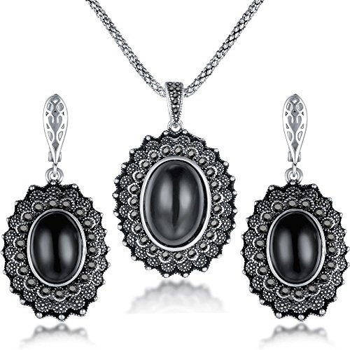 Dnswez Vintage Oval Black Onyx Marcasite Stones Big Pendant Necklace Dangle Earrings Set for Women
