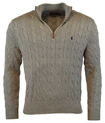 Polo Ralph Lauren Men's Cable-Knit Mock Neck Sweater, M, Fawn Grey