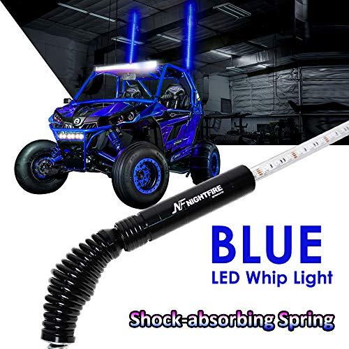 NF NIGHTFIRE LED Whip Blue 5FT Flag Pole Light w/Quick Release Shock-absorbing Spring ATV Safety Flags Lighted Antenna Light Whips for RZR UTV Quad Buggy Whips (One Unit)