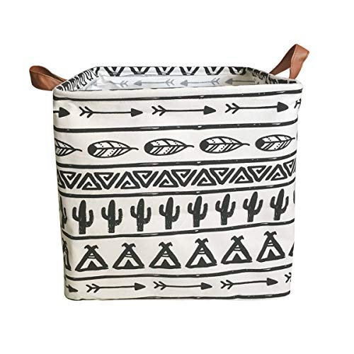 Square Cactus Storage Bins Canvas Collapsible Storage Basket with Handles Toy Organizer for Nursery, Kid's Toys, Closet & Laundry, Gift Basket (Black) from SAKUYV