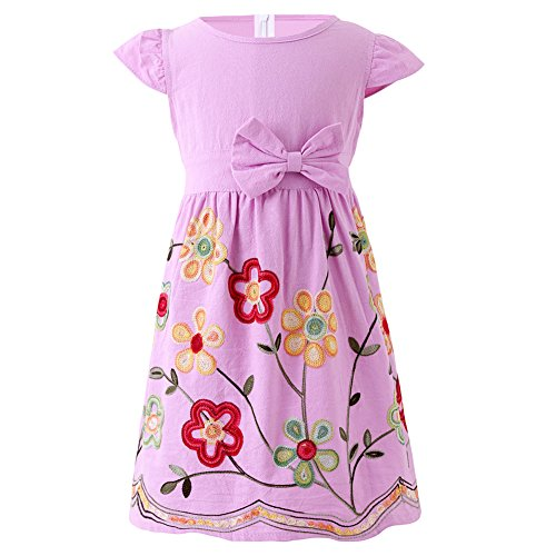 SMILING PINKER Toddler Girls Dress Casual Embroidered Floral