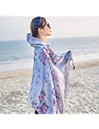 THSTVweijin Ms. Scarf Cotton Travel Scarf Vacation Sunscreen Scarf Air Conditioning Large Shawl Beach Towel THSTVweijin (Color : Butterfly Grey)