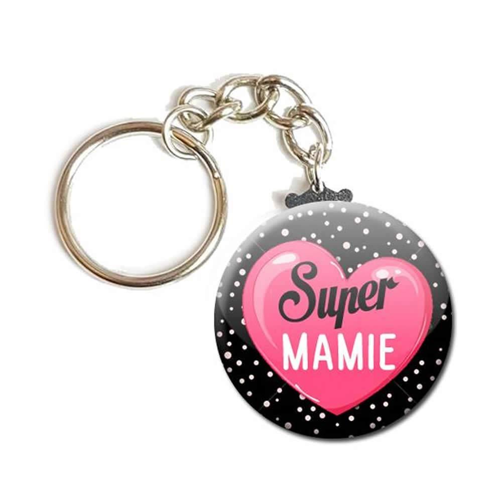 PORTE CLÉS Chaînette 3, 8 cm ✩ Super Mamie ✩ (idée cadeau mamy mémé grand mère parent) 8 cm ✩ Super Mamie ✩ (idée cadeau mamy mémé grand mère parent)