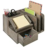 desk organizer wood - MyGift Rustic Gray Wood Desktop Office Organizer w/ Sticky Note Pad Holder, Mail Sorter & Pullout Drawer