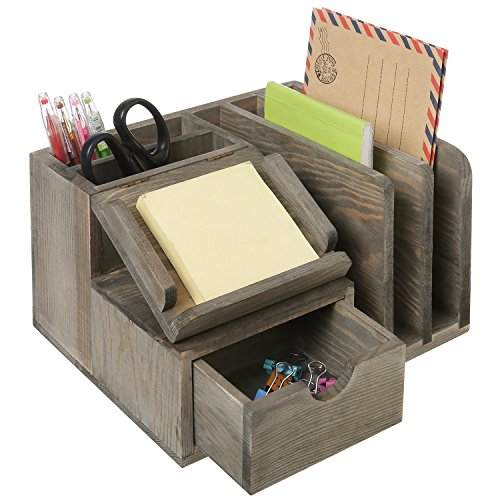 MyGift Rustic Gray Wood Desktop Office Organizer w/ Sticky Note Pad Holder, Mail Sorter & Pullout Drawer