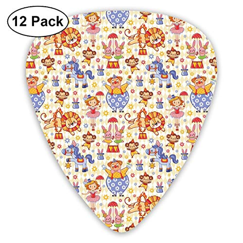 Guitar Picks 12-Pack,Carnival Circus Theme With Cheerful Mascots Monkey Lion Bunny Acrobat Girl And Clown ()