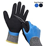 Hanhelp Dual Nitrile Coating Cut Resistant Gloves, Water Resistant Kitchen Level 5 Protection Handling Sharp Materials Safety Gloves, Grip Durable Comfortable Multipurpose Work Gloves - Small
