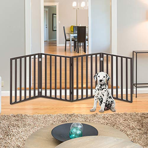 "PETMAKER Wooden Pet Gate- Foldable 4-Panel Indoor Barrier Fence, Freestanding and Lightweight Design for Dogs, Puppies, Pets- 72 x24"" (Brown Stain)"