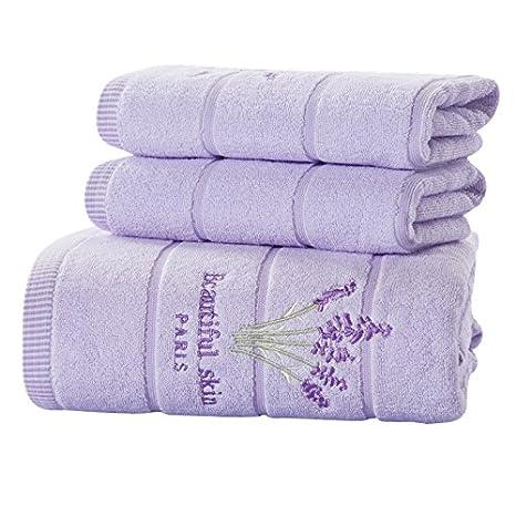 Generic lavanda, 3 Conjuntos de piezas: 3 piezas Bordado lavanda algodón juego de toallas toallas de cara de toalla de baño para adultos toallitas alta ...