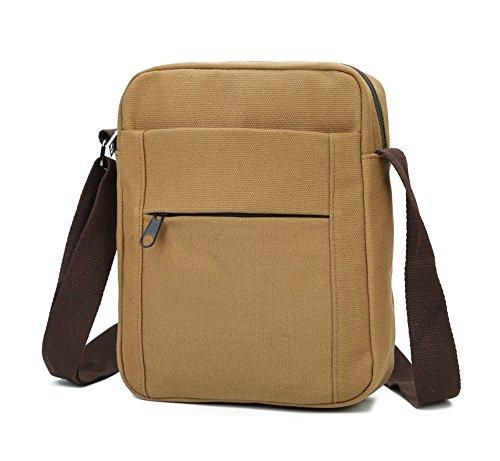 Small Messenger Bag, Urmiss Mini Retro Cotton Canvas Shoulder Satchel Crossbody Bag Hiking Bag Small Messenger Bag Travel Purse for iPad Mini and Smartphone Cellphone by Urmiss
