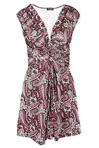 Oops Outlet Women's V Neck Front Bow Knot Tie Back Belt Swing Twisted Mini Dress Plus Size (US 16/18) Wine Floral Paisley -
