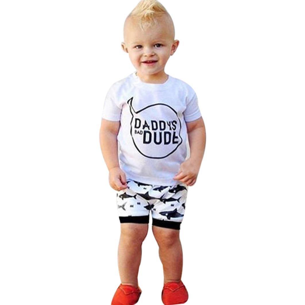 贅沢品 leegor 2pcs Baby文字プリントTシャツ+ leegor 6 Shark弾性ショーツパンツ服セット 6 Months ホワイト Months B071CQNXG3, フタバマチ:728460c9 --- a0267596.xsph.ru