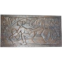Vintage Kamasutra Khajuraho Inspired Wall Hanging Headboard Hand Carved Sculpture Eclectic Decor