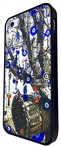 802 - Multi Evil Eye Arabic Art Design iphone SE - 2016 Coque Fashion Trend Case Coque Protection Cover plastique et métal - Noir