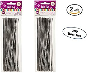 2 unidades de Darice 28 – 011 – 7 – 1/4 de pulgada Twist Ties Plata 150-Pack Value Pack PackageQuantity: 2