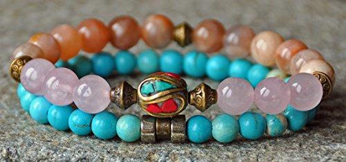 Health and Healing Bracelet,Sunstone, Turquoise,Rose Quartz Chakra Bracelet,Stackable Mala Bracelet,Tibetan bracelet,Chakra gemstone mala David Yurman Designer Bracelet
