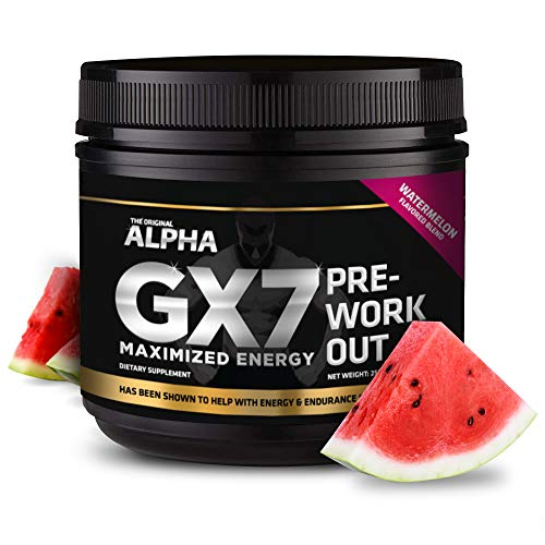 Alpha Gx7 Pre-Workout - Maximized Energy - for Workouts 274g - 30 Servings Watermelon Flavor