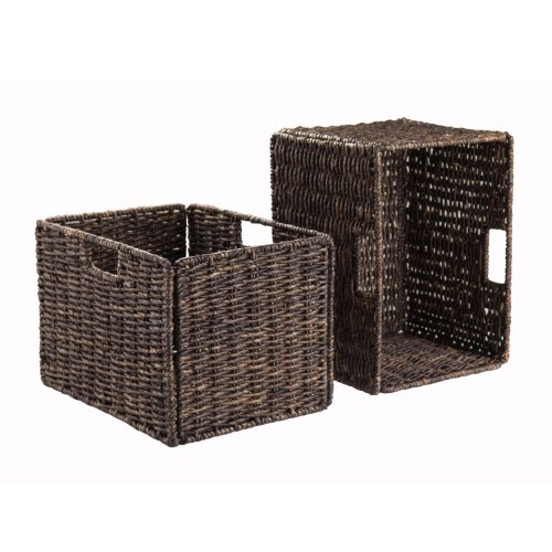 Winsome Wood Granville Foldable 2-Piece Tall Baskets Corn Husk