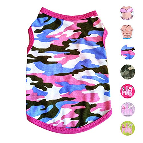 Pink Camo Pet Dog - Alroman Dog Shirts Pet Shirts Dog T-shirt Puppy Tee Dog Vest Puppy Vest Pet Clothes for Small Dogs and Cats Doggie Camouflage Shirt Puppy Summer Apparel Dogs Pink Camo Shirt Pet Beach Wear(S)