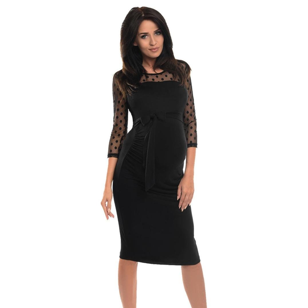 Snowfoller Fashion Pregnant Women Dress, Sexy Women Maternity Ruched Long Sleeves Round Neck Bodycon Pregnancy Dress With Polka Dot Lace Stitching Party Dress (XL, Black)