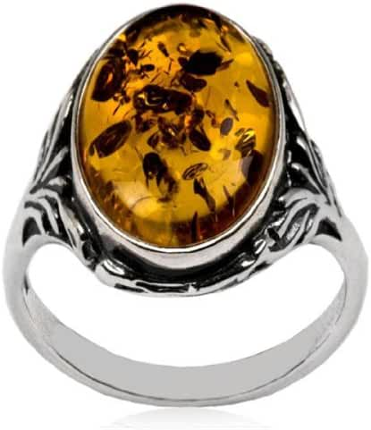 Sterling Silver Baltic Amber Oval Classic Ring
