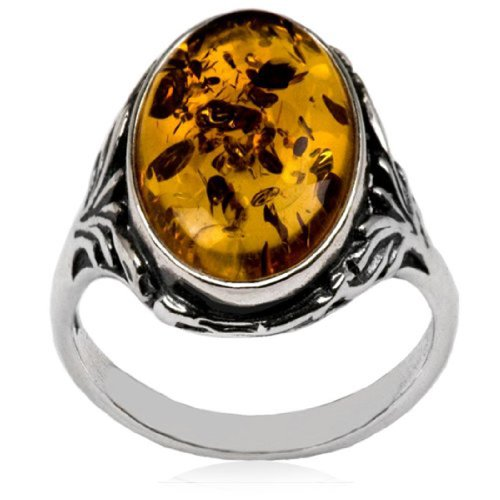 - Baltic Amber Sterling Silver Oval Classic Ring 10x14mm Cabochon