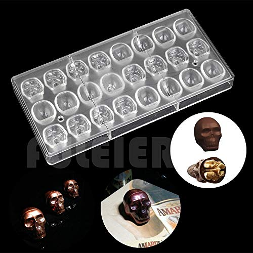 VT BigHome Halloween 3D skull Shape Polycarbonate Chocolate Mold DIY kitchen confectionery tools cake decoration baking candy mould for $<!--$45.62-->