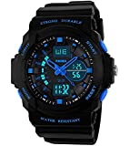 Bo Yi Boys Girls Kids Children Digital Sports Watches - Multifunction 50M Waterproof LED Light Electronic Sport Watch for Junior Children Teenagers Boys Girls with Alarm Stopwatch Timer(Blue)