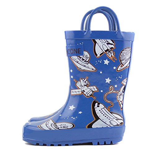 Lone Cone Children's Waterproof Rubber Rain Boots in Fun Patterns with Easy-On Handles Simple For Kids (Puddle Shuttle Boots, 9 M US Toddler)