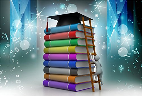 CSFOTO 5x3ft Background for Graduation Ceremony Climb Temple of Knowledge Photography Backdrop Fantasy Strive Study Books School College Success Commencement Photo Studio Props Polyester -