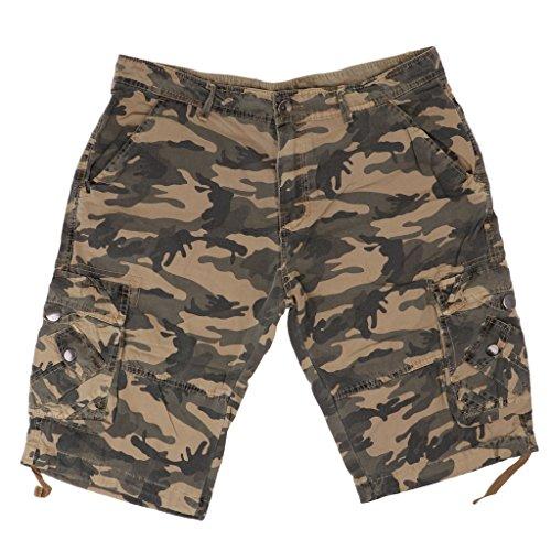 Baosity Army Vintage Men Short Trousers Outdoor Pants Knee Length Combat Work Wear Airborne Cargo Shorts camo - Camo Khaki, ()