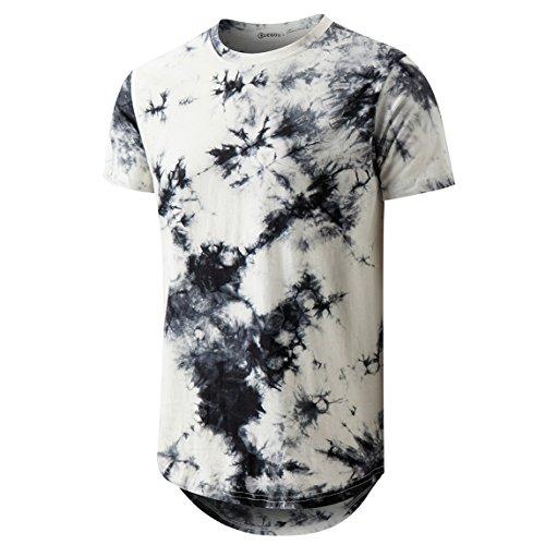 Mens Hip Hop Tie-Dyed Hipster Curve Hem T Shirt(1803ZR White XL)