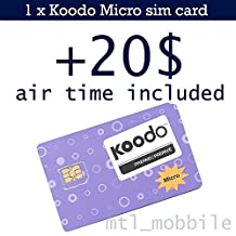 Koodo Mobile Prepaid Micro sim card with 20$ air time (voucher) included