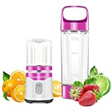 Portable Blender, Personal Size Eletric USB Juicer Blender With 2 FDA Approved Cups, Household Fruit Mixer-Fruit, Smoothie, Baby Food Mixing Machine with Updated 6 Blades,Magnetic Secure Switch Electric Juicer Blender for Superb Mixing (purple)