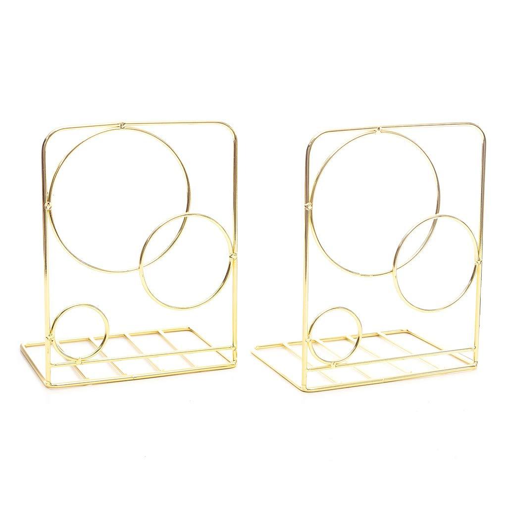 soportes de libros 2 sujetalibros redondos de metal para escritorio color RGD almacenamiento de utensilios de oficina estanter/ía papeler/ía