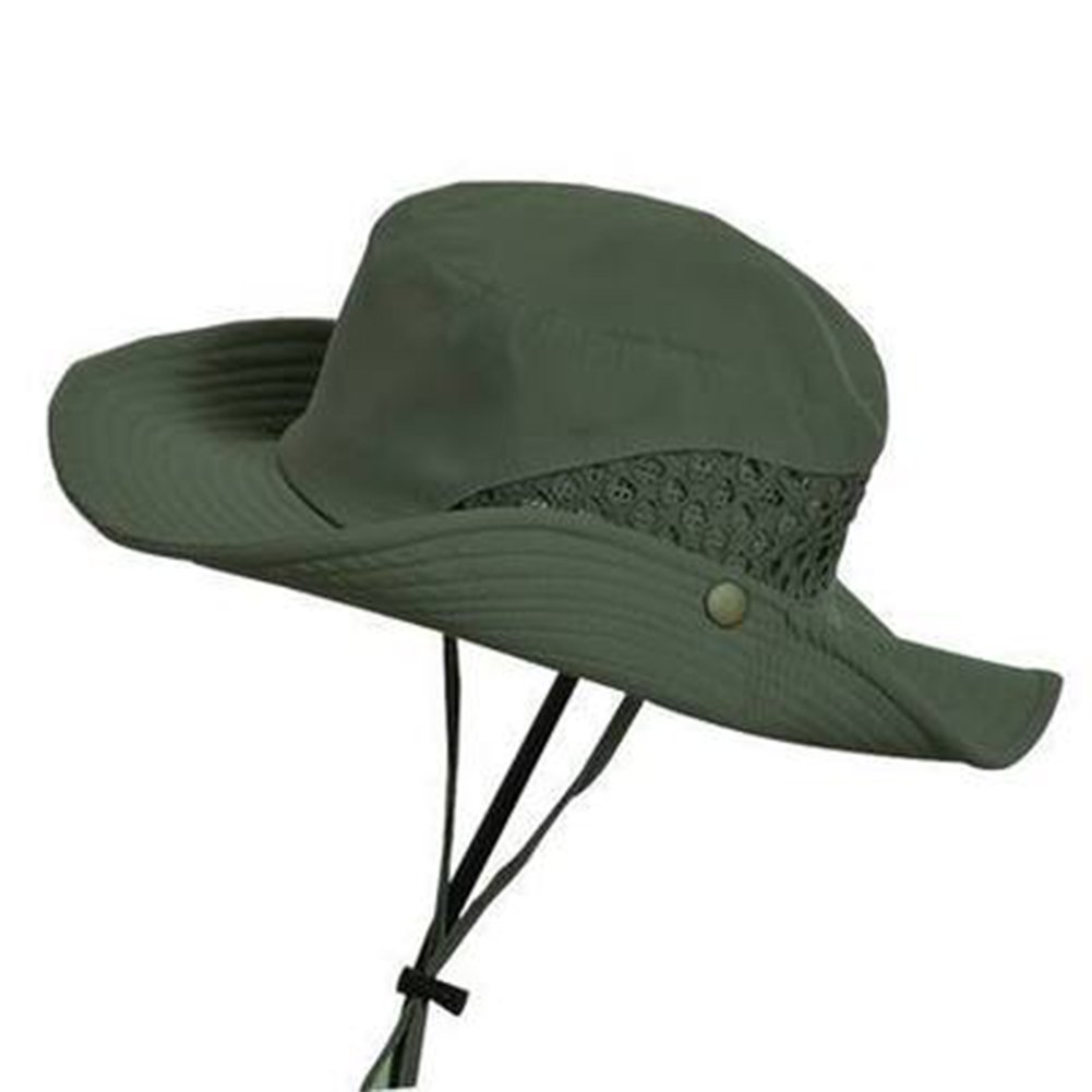 EMVANV estivo da uomo Cappello da sole, uomini mesh traspirante secchio pescatore cappello Outdoor climbing net protezione solare protezione UV spiaggia cappello cappello a tesa larga, Grey