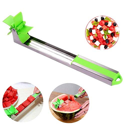 Melon Windmill Slicer -Stainless Steel Watermelon Slicer, Melon and Cantaloupe Fruit Slicer, Easy Grip Kitchen Gadgets, Professional Restaurant Chefs Cutting Tools