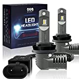 H11/H8/H9 LED Headlight Bulbs Low Beam/Fog Light with Fan, SEALIGHT S2 Series Mini Design Upgraded CSP Chips 6000K Xenon white IP67-2 Year Warranty (2 Pack)