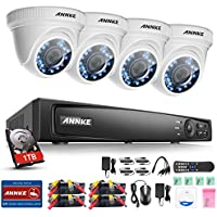 ANNKE Security Camera System 4-channel 1080P HD-TVI H.264+ Realtime DVR and (4) 2.0MP High-Resolution Weatherproof Outdoor Security Cameras with Night Vision ,1TB Surveillance Hard Disk Drive