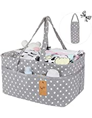 Diaper Caddy Organiser, Baby Nappy Organiser Canvas Nursery Storage Basket with Insulated Bottle Carrier and Removable Compartments Portable Nappy Changing Tote for Mom Newborn