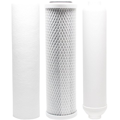 Replacement Filter Kit for Vertex PT 4.0 RO System - Includes Carbon Block Filter, PP Sediment Filter & Inline Filter Cartridge by CFS (Vertex Pure Water Machine Filters)