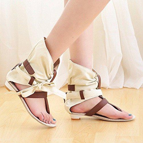 AJUNR Toe de Roma Zapatos Beige Elegante Sandalias Clip Moda Transpirable Tela BqfRrBw