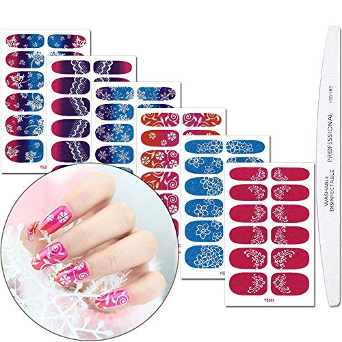 Full Nail Wraps Nail Art Polish Stickers With 1Pcs Nail File Lace Gradient Adhesive Nails Decals Strips Manicure Set For Women Girls ()