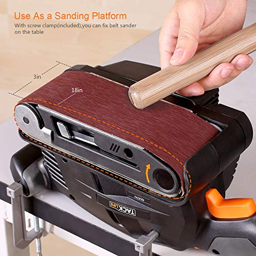 3 × 18-Inch Belt Sander with 13Pcs Sanding Belts, Tacklife Sanding Platform, with 10Feet(3M) Power Cord, Variable-speed Control, Fixed Screw Clamp, Dust Box, Vacuum Adapter - PSFS1A by TACKLIFE (Image #2)