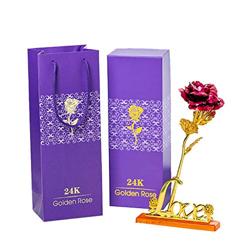 Divi Gold Foil -  Orcbee  _Gold Foil Romantic Rose with Base with Gift Box Gift for Valentine's Day for Wife Women (Hot Pink)